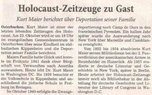 Kurt Maier (Holocaust-Zeitzeuge) @ Evangelisches Gemeindezentrum Osterburken
